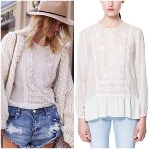 Zara Embroidered Front Pom Pom Sheer Blouse